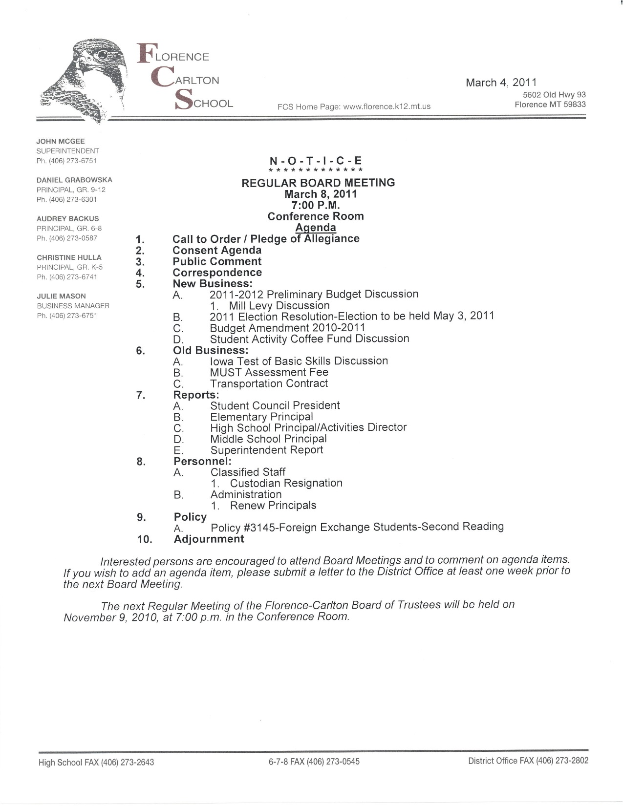 March 8th School Board Meeting Overview Agenda Approved Minutes – Board Meeting Agendas
