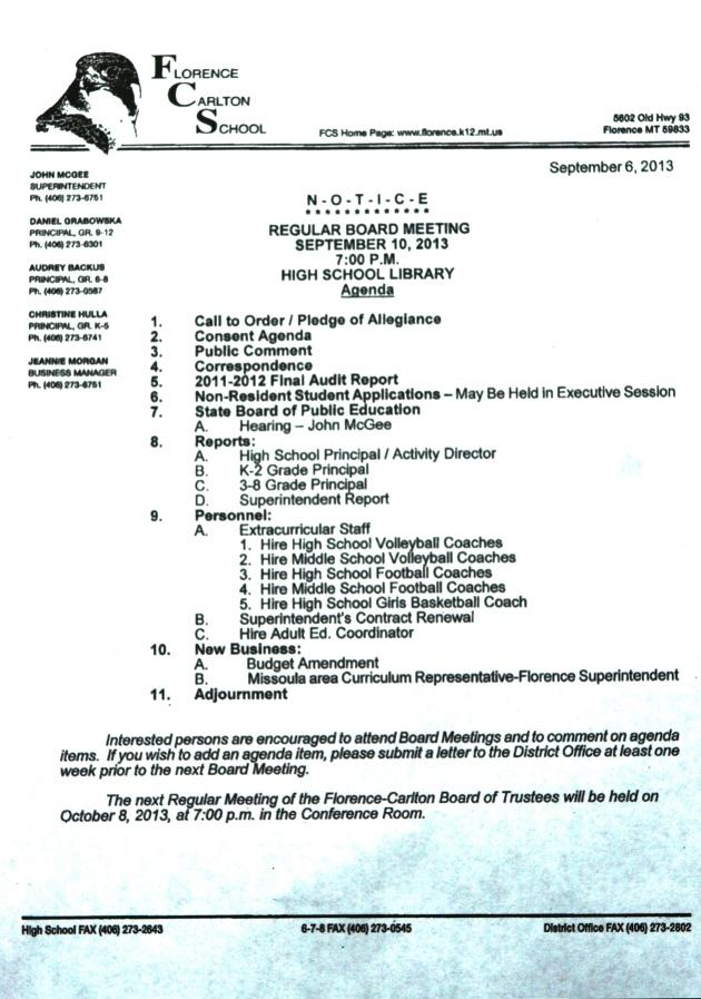FCSB Agenda - September 10, 2013